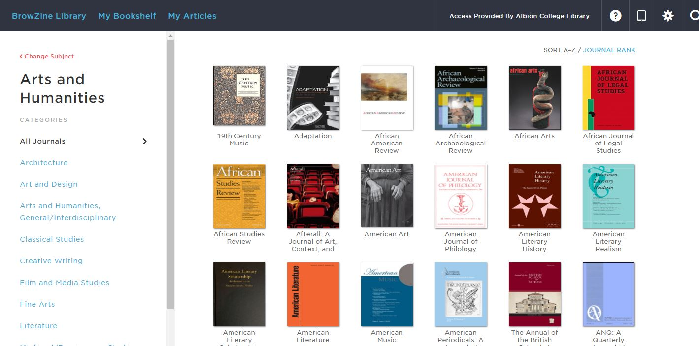 Arts and Humanities Journals in BrowZine