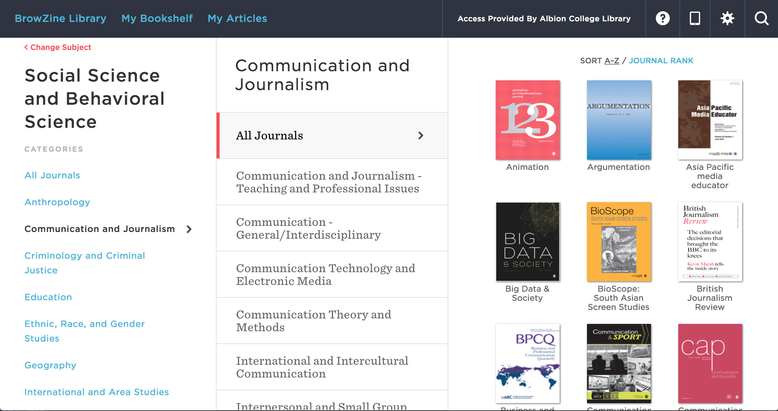 Communication Studies Journals in BrowZine