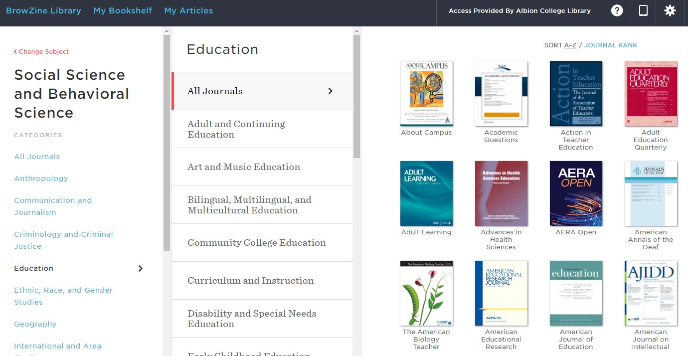 Education journals in BrowZine