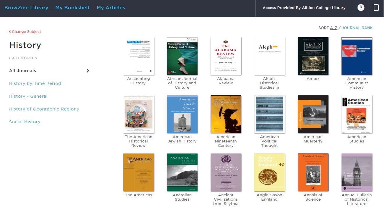 History journals in BrowZine