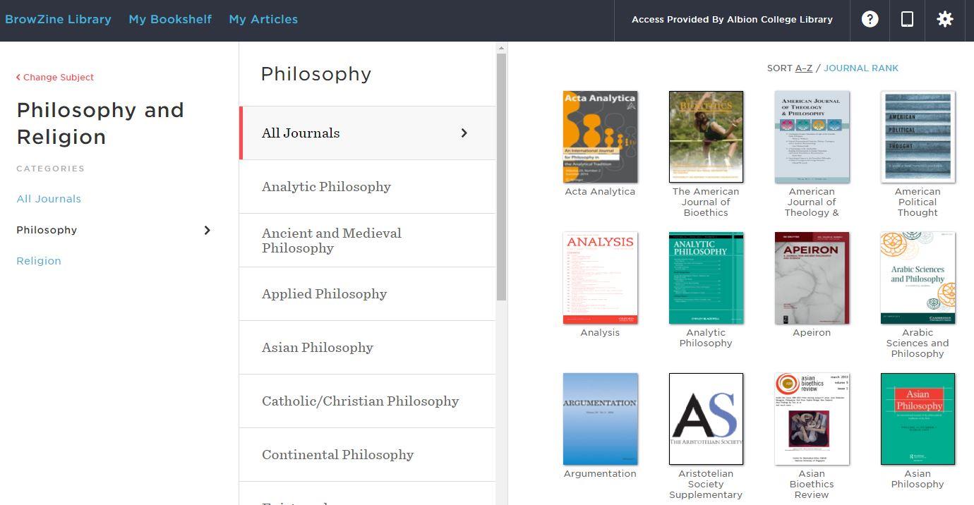 Philosophy journals in BrowZine