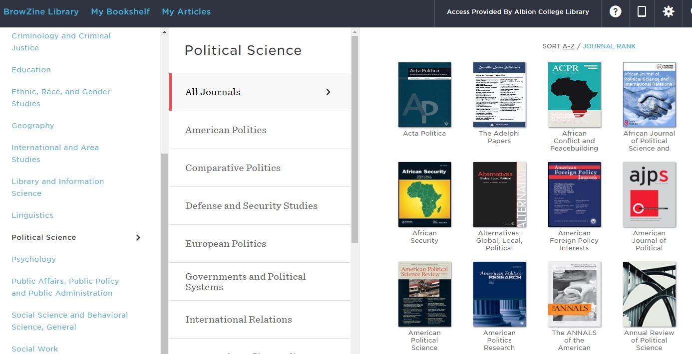 Political Science journals in BrowZine